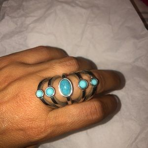 Knuckle turquoise ring & bow ring set!